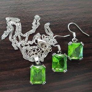 "Jewelry - 20"" STERLING SILVER NECKLACE ~ EARRING AVENTURINE"